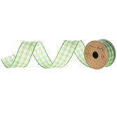 """Lime & White Gingham Wired Edge Ribbon - 1 1/2"""""""