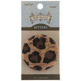 Cheetah Print Cork Shank Button - 44mm