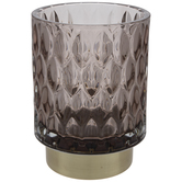 Gray Leaf Ridged Glass Candle Holder