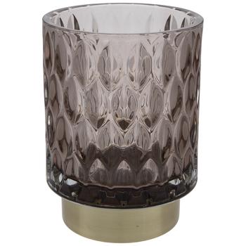 Gray Leaf Ridged Glass Candle Holder