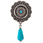 Concho With Stone Drop Snap Charm