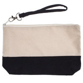Black & Natural Canvas Wristlet