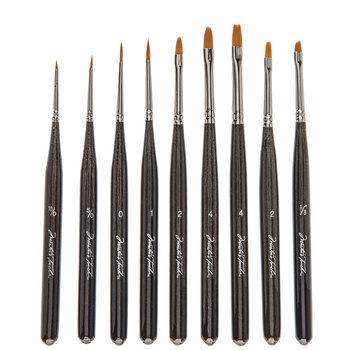 Gold Taklon Paint Brushes - 9 Piece Set
