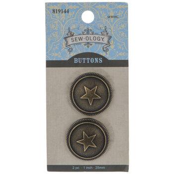 Star Round Shank Buttons - 25mm