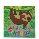 Happy Birthday Sloth Napkins - Large