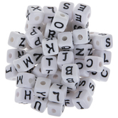 White & Black Alphabet Letter Beads