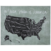 Green & Black United States Map Canvas Wall Decor