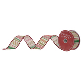 Christmas Striped Wired Edge Burlap Ribbon - 1 1/2""