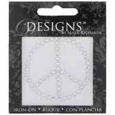 Silver Peace Sign Rhinestone Iron-On Applique