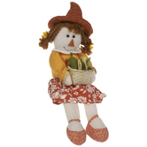 Scarecrow Girl With Pigtails Shelf Sitter
