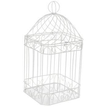 Bird Cage In Gloss Whitewedding giftwedding card holderbridal showerwedding decorwedding cardsmetal bird cage