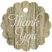 Wood Grain Scalloped Favor Tags