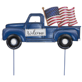 Blue Welcome Truck Metal Garden Stake