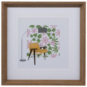 Yellow Chair & Flowers Framed Wood Wall Decor