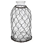 Glass Vase With Chicken Wire