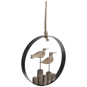 Birds Round Wood Wall Decor