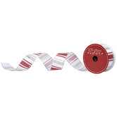 """Red & Silver Glitter Striped Wired Edge Ribbon - 1 1/2"""""""