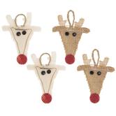 Mini Burlap & Canvas Reindeer Ornaments