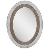 Whitewash Oval Wood Wall Mirror