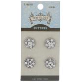 Silver Rhinestone Flower Shank Buttons - 14mm