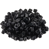 Opaque Black Glass Cube Beads - 3.5mm
