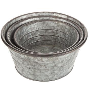 Galvanized Metal Round Container Set