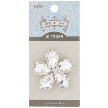 Rhinestone Flower Shank Button - 40mm