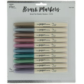Jewel Tone Metallic Brush Markers - 10 Piece Set