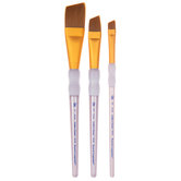Brown Taklon Angular Paint Brushes - 3 Piece Set