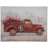 Truck Hauling Flowers Canvas Wall Decor