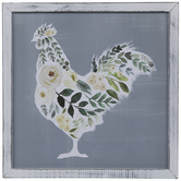 Floral Rooster Wood Wall Decor