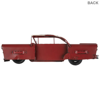 Red & White Vintage Car Metal Wall Decor