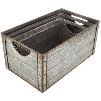 Galvanized Metal Rectangle Container Set