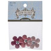 Pink Gem Flower Shank Buttons - 28mm