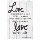 1 Corinthians 13:4 Wood Wall Decor