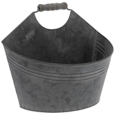 Gray Wash Metal Wall Bucket