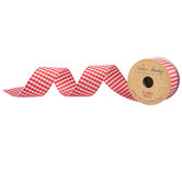 """Red Gingham Wired Edge Ribbon - 1 1/2"""""""