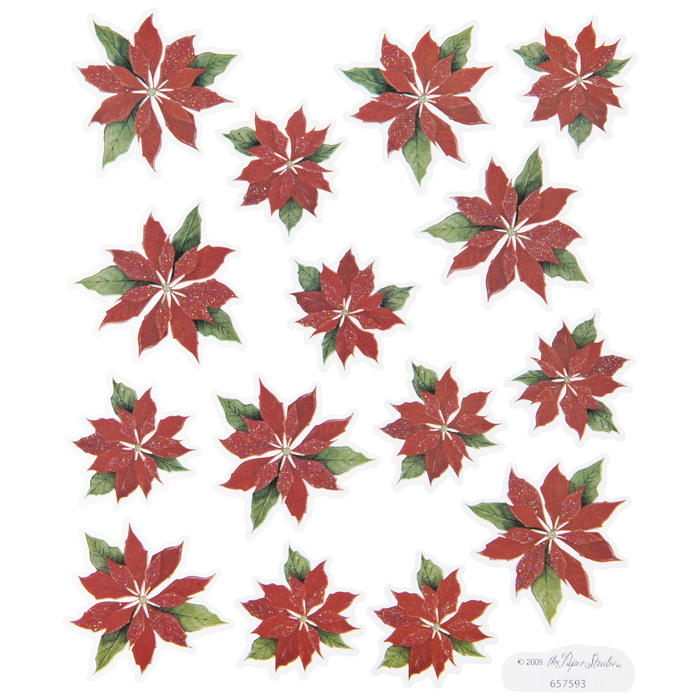 PAPER HOUSE SCRAPBOOK STICKERS POINSETTIAS  GET 2