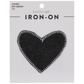 Black Denim Heart Iron-On Appliques