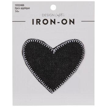 Black Denim Heart Iron-On Appliques