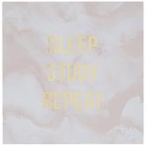 Sleep Study Repeat Marble Wood Wall Decor