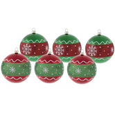 Red & Green Snowflake Round Ornaments