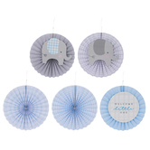Welcome Little One Elephant Paper Fans