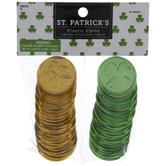 Metallic Gold & Green Shamrock Coins