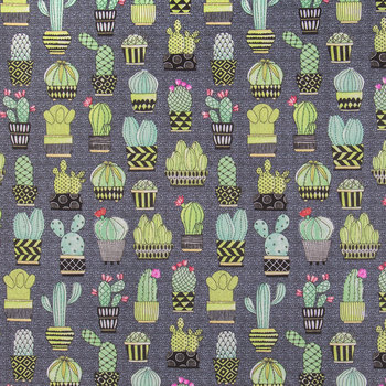 Gray Cactus Hoedown Duck Cloth Fabric