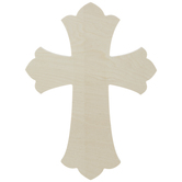Scalloped Baltic Birch Wood Wall Cross - 16""