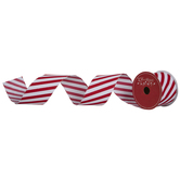 Red & White Glitter Diagonal Striped Wired Edge Ribbon - 2 1/2""