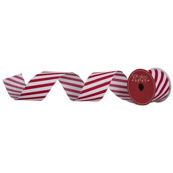 "Red & White Glitter Diagonal Striped Wired Edge Ribbon - 2 1/2"""