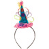 Bright Cone Hat Headband With Feathers & Ribbon