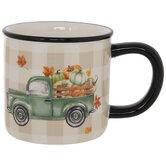 Truck With Pumpkins Buffalo Check Mug
